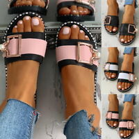 LADIES FLAT WOMENS SUMMER FASHION BEADS BUCKLE SLIDERS SLIDES SANDALS SHOES