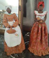 Amazing Artist Signed Black Americana Blackamoor African Women Clay Statues