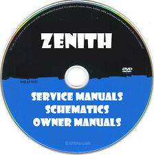 Zenith Service Owner Manuals & Schematics- PDFs on DVD - Huge Collection Latest