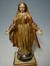 Superb Antique French Christian poly chrome wood carving  Our Lady Virgin Mary