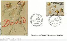 1989 ENVELOPPE ILLUSTRE FDC 1°JOUR**DAVID-JEU DE PAUMES-PARIS **TIMBRE Y/T2591