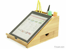 Desktop iPad Tablet Stand, Desk Tidy, Made of Bamboo