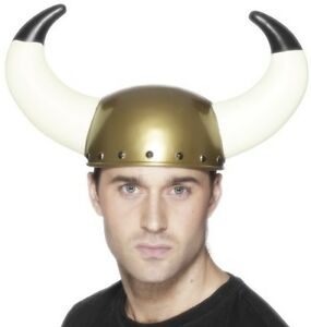 Adult Viking Helmet with Large Horns Fancy Dress Hat New by Smiffys