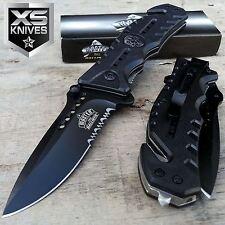 "8"" MASTER USA Black SKULL MEDALLION Half SERRATED Spring Assisted TACTICAL Knife"