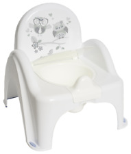 BABY TOILET POTTY CHAIR WITH MELODIES TODDLER KIDS TRAINING SEAT OWLS WHITE/GREY