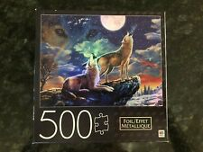 MB FOIL 500 PC PUZZLE WOLVES HOWLING TO THE MOON