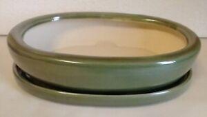 """Lovely Bonsai Pot & Saucer 9"""" long NEW, Green"""