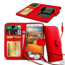 For ZTE Open L - Clip On PU Leather Wallet Case & Earphone