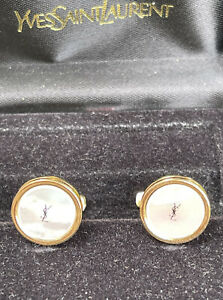 BEAUTIFUL AUTHENTIC YVES SAINT LAURENT GOLD AND MOTHER OF PEARL ROUND CUFFLINKS