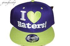 ESCLUSIVO I LOVE HATERS Cappello snapback, VISIERA PIATTA VIOLA Baseball
