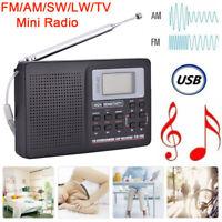 Portable Digital World Full Band Radio Receiver AM/FM/SW/MW/LW Radio+Alarm Clock
