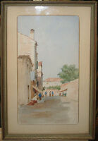 Pietro Galter Venice Street 1890s Watercolor Listed Venetian Artist