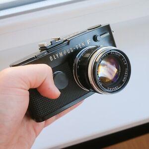 Olympus Pen FT Black Film Camera G.Zuiko 40mm F1.4 with Hood, Filter, Case, Cap
