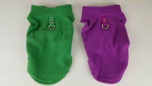 """2/PACK Stretch Fleece Dog Vest, SMALL 9"""" Length, Purple and Green"""