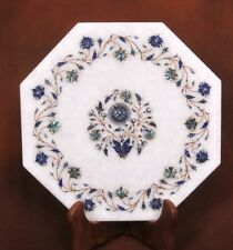"15"" white Marble Table Top lapis Inlaid semi precious stones home decor"