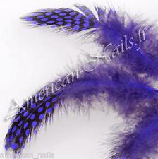 5 bijoux décos Bijoux d'ongles Nail Art Plumes Teintées Bleu Electrique UV Gel