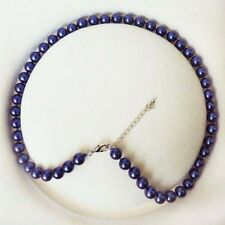 Natural 8mm Dark Blue South Sea Shell Pearl Fashion Necklace 18''