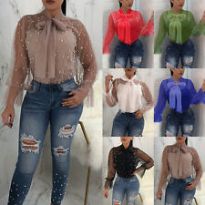 Womens Elegant Bow Tie Neck Blouse Party Top Summer Mesh Long Sleeve T Shirt Tee