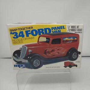Vintage MPC '34 Ford Panel Van Snap Together Car Model #1-3203 -EMPTY