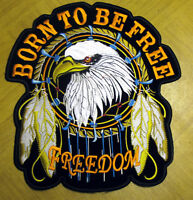 Born to be Free Adler Eagle Aufnäher Patch L  Biker