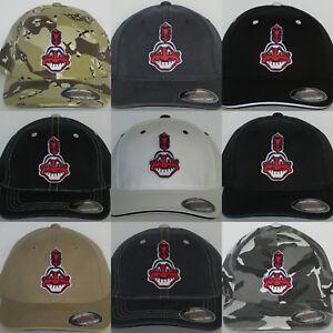 """Cleveland Indians """"FLEX FIT"""" Cap ⚾️HAT ⚾MLB PATCH/LOGO ⚾2 SIZES ⚾️13 COLORS ⚾NEW"""