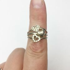 VINTAGE SOLID STERLING SILVER LOVE HEARTS CZ SET LADIES RING SIZE N