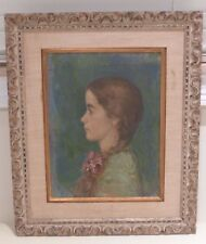 EXQUISITE ANTIQUE OIL ON CANVAS PORTRAIT OF A YOUNG GIRL SIGNED BY ARTIST