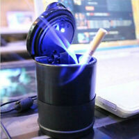 1PC Car Ashtray LED Light Round Black Strong Retardant Plastic Auto Accessories