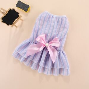Dog Dress W/ Bow Small Pet Cat Costume Puppy Skirt for Yorkie Shih Tzu Chihuahua