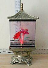 Vintage  Brass Floral Fiber Optic Rotating Table Lamp Light