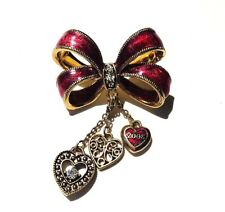 Monet Signed Red Enamel Gold Tone 2008 Ribbon Bow Heart Charms Brooch Pin
