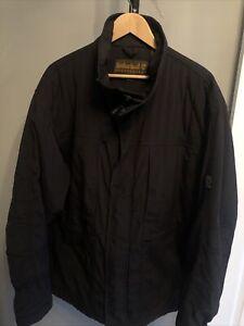 Mens TIMBERLAND Weathergear Waterproof Padded Parka Jacket Black Raincoat Sz XXL