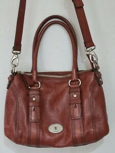 Fossil Maddox Brick Red Pebble Leather Satchel Doctor Shoulder Bag Crossbody