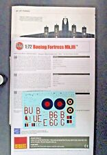 Airfix 1/72 Scale Boeing Fortress Mk. III Decals, Direction from Kit No. A08018