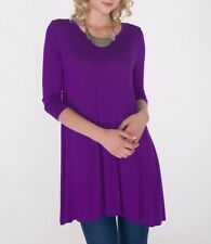 New Women's Long 3/4 Sleeve Tunic Top Shirt Blouse Dress USA SML/Plus Size 3XL