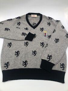 Pringle of Scotland V Neck Wool Sweater - Large Lion Crest Pattern