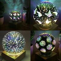 3D LED Night Light USB Projector Lamp Ball Butterfly Fireworks Decors Gift