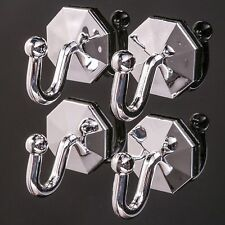 4 x SILVER CURTAIN TIE BACK HOOKS Self Adhesive Cord/Rope/Tassel Holders Sticky