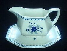 ADAMS Baltic Blue Flower Pattern Jug / Gravy Boat + Under Plate c1966+