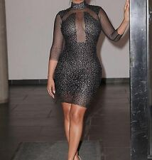 Sexy Black Sequined Bodycon Dress High Neck See Through Mesh Top and Sleeves