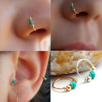 Nose Ring Ear Hoop Tragus Cartilage Earring Crystal Stainless Steel 12mm