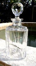 HEAVY Square Clear Lead Crystal Liquor Decanter w/ Geometric Cut Topper-Portugal