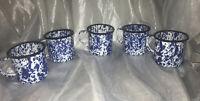 Lot Of 5 Vintage CGS Blue Marble Speckled Enamel Enamelware Coffee Mug Cup