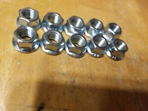 """10 Steel 3/8"""" BMX Bike Hub Axle Nuts - Silver - Haro GT DK Redline 24 TPI"""