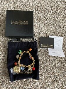 NEW JOAN RIVERS COMMEMORATIVE TREASURES CHARM BRACELET WATCH BEE FLOWER CHERRY