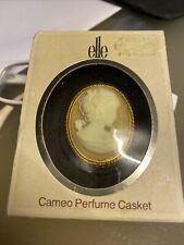 """VINTAGE """"ELLE"""" di Crema Lentheric PROFUMO Gold Tone Cameo ciondolo-Boxed Completo"""
