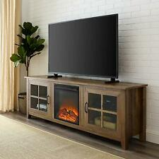 "Walker Edison 70"" Farmhouse Fireplace Wood TV Stand - Rustic Oak New"