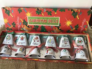 VINTAGE PORCELAIN CHRISTMAS BELL JAPAN SET OF 12 IN BOX!