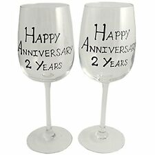 2nd Year (Two Year) Anniversary Gift Pair of Wine Glasses (Black/Silver)