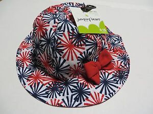 New JUMPING BEANS STARBURST Print Sun Hat ~ 6-18 Months, UPF 50+, Lined, Strap